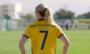The new national team shirt, which carries messages from prominent Swedish women. The no7 is worn by Lisa Dahlkvist and says 'Believe in your damn self', a tweet by the artist Zara Larsson.