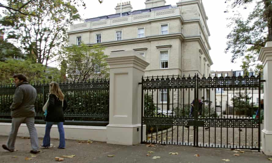 One of the large mansions on the so-called billionaires' row at Kensington Palace Gardens.
