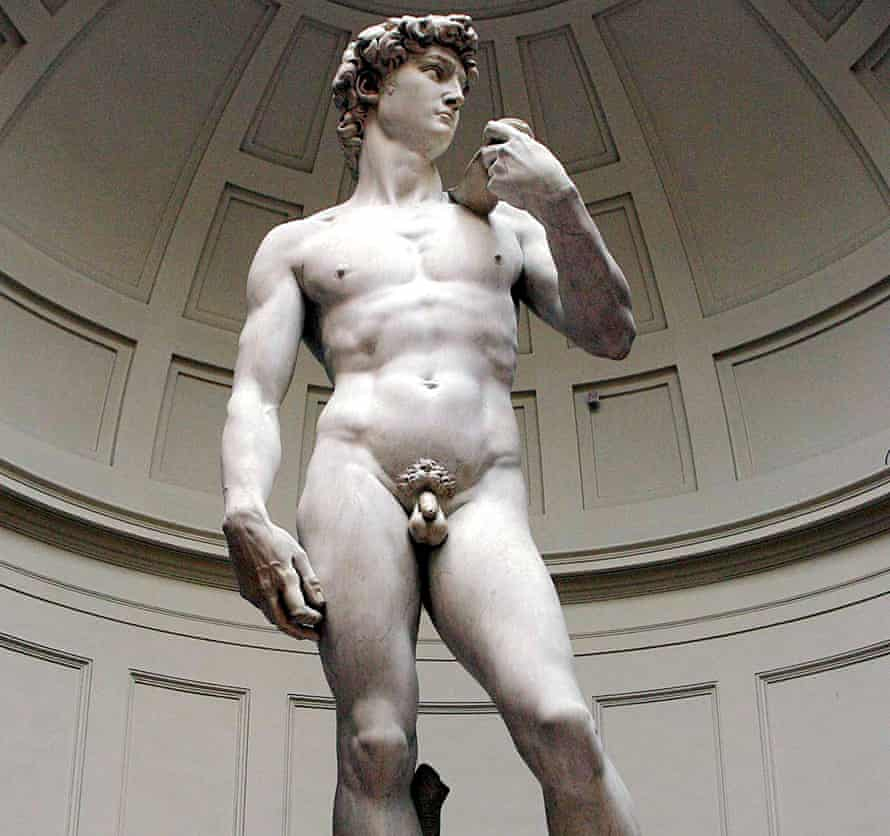 Uncompromising … Michelangelo's David shares similarities with the Risen Christ.
