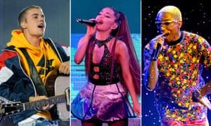 (L-R) Justin Bieber, Ariana Grande, Pharrell Williams.