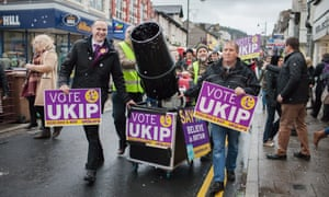 Sam Gould, Ukip Welsh assembly candidate for Caerphilly, uses a snow machine to engage voters in the town centre in December.