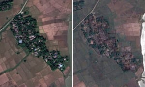The village of Maw in Rohingya in 2017 and 2018