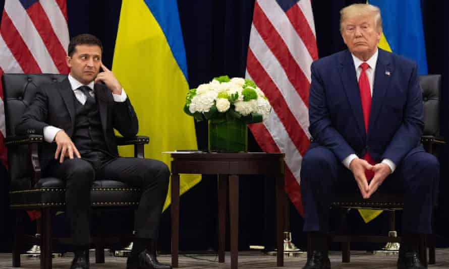 Volodymyr Zelenskiy and Donald Trump during a meeting in New York on the sidelines of the United Nations general assembly.