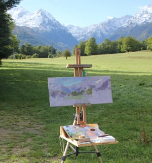 Easel looking ay mountains at Ancienne Poste Art Retreat, France