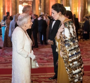 The Queen greets Jacinda Ardern in the blue drawing room at Buckingham Palace on Thursday.