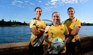 (Left to right): Emily Gielnick, Gema Simon and Laura Alleway are part of the squad hoping to set a new benchmark for Australian teams.