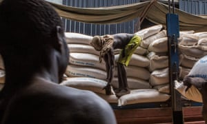 Food aid is distributed in South Sudan.