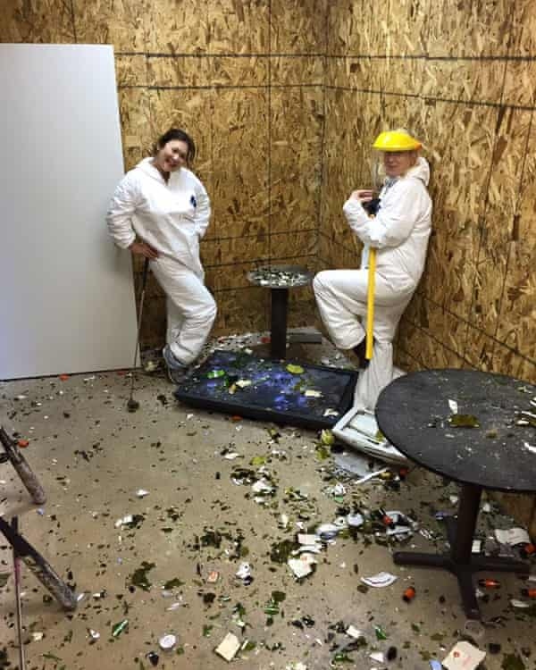 Two of Baker's clients in the Tantrums LLC rage room