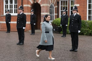 Chelmsford, UK – The home secretary, Priti Patel, inspects new police recruits at a passing out parade at Essex police headquarters