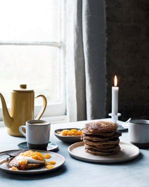 Anna Jones's chestnut and ricotta pancakes with clementine jam.