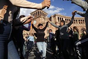 Street celebrations in Yerevan, Armenia, after PM Serzh Sargsyan resigned