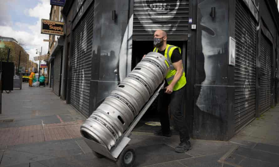 Barrels of beer from Brixton Brewery are delivered to a bar in Brixton