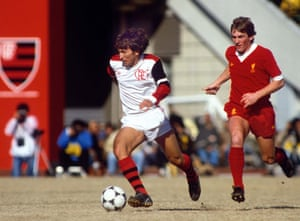 Zico in action for Flamengo against Liverpool in 1981.