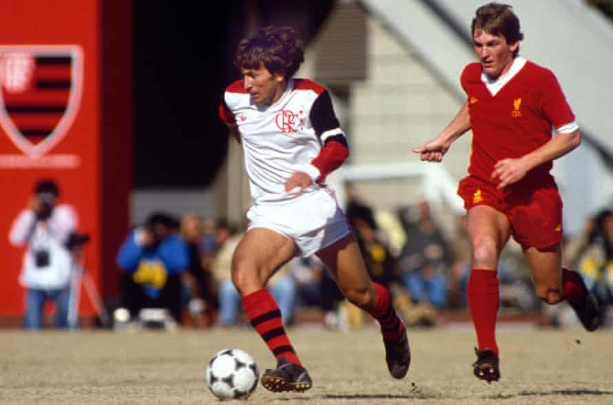 Kenny Dalglish is left trailing by Zico in Tokyo in 1981.