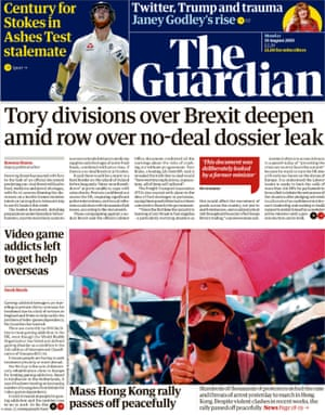 Guardian front page, Monday 19 August 2019
