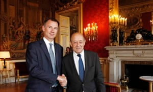 Jeremy Hunt, the foreign secretary (left) with his French counterpart Jean Yves Le Drian at the Quai d'Orsay in Paris.