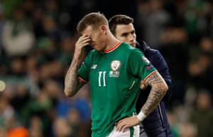 A dejected James McClean at full-time.