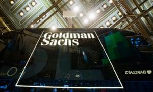 Goldman Sachs sign is seen above floor of the New York Stock Exchange