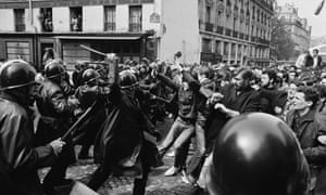Police and students clash in Paris, in May 1968.