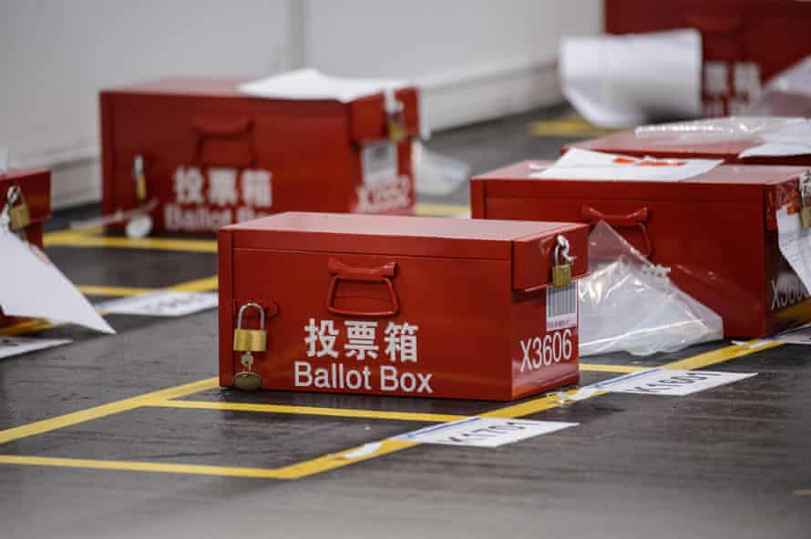 Ballot boxes at the central counting station in Hong Kong on Monday.