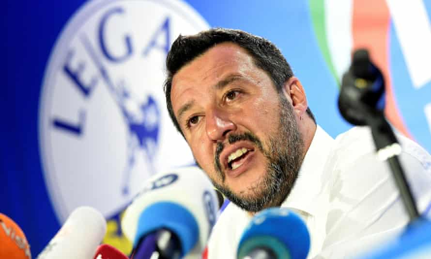The Italian deputy prime minister and League party leader, Matteo Salvini, speaks on European election night.Italian Deputy Prime Minister and leader of far-right League party Matteo Salvini speaks during his European Parliament election night event in Milan