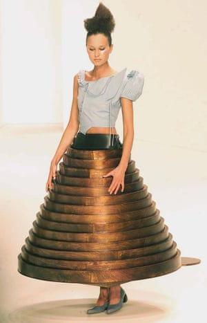 A model presents a creation by designer Hussein Chalayan, 2000.