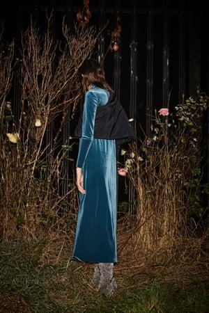 black half padded jacket Selfridges, blue maxi dress Stories, grey velvet boots Kurt Geiger