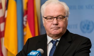 Vitaly Churkin at the Syrian ceasefire press conference at the UN headquarters in New York in December 2016.