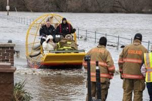 Evacuations as floodwaters rise in Ashland, Nebraska.