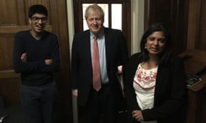 Rupa Huq and her son with Boris Johnson at Westminster on 25 March 2020.