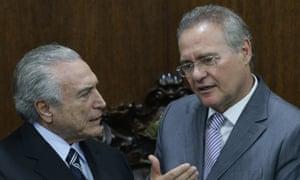 Renan Calheiros talks to Michel Temer, Brazil's acting president