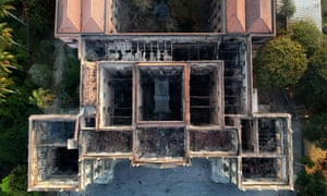Drone view of Rio de Janeiro's treasured National Museum, one of Brazil's oldest, on 3 September, 2018, a day after a massive fire ripped through the building.