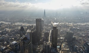 An aerial view of City of London financial district