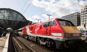 A Virgin East Coast train at London's King's Cross station.