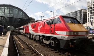 A Virgin East Coast train at King's Cross station in London.