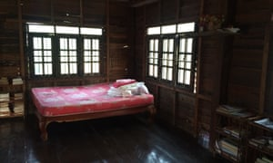 A simple homestay bedroom near the temple