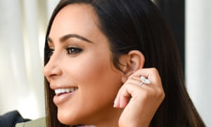 Kim Kardashian in July, wearing the engagement ring that was stolen from her in Paris.