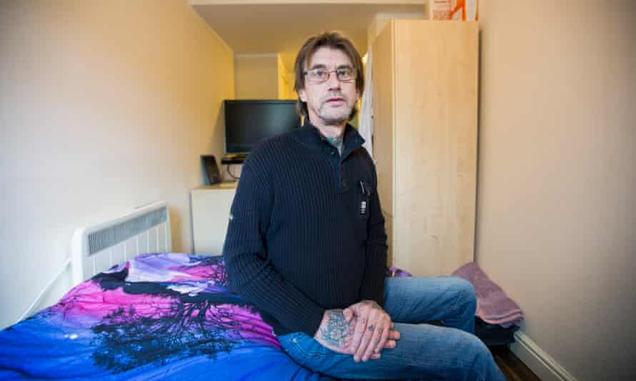 Gary Webber who pays £980 for this tiny 'corridor' of a room.