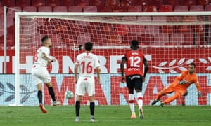 Lucas Ocampos opens the scoring during victory over Mallorca with a cheeky penalty.