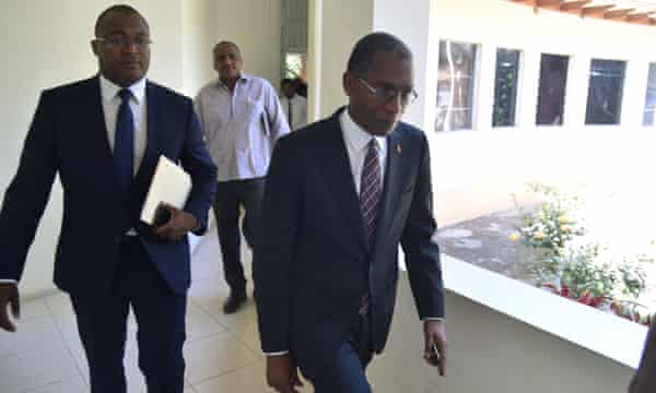 Antonio Rodrigue, right, minister of foreign affairs of Haiti, after a press conference this week in Port-au-Prince.