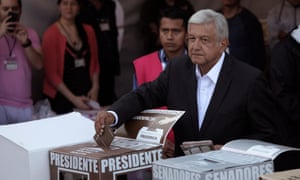 Andrés Manuel López Obrador casts his ballot at a polling station during the presidential election in Mexico City on Sunday.