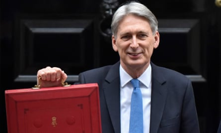Philip Hammond holds the budget box as he leaves Downing Street.
