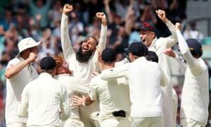 Moeen Ali celebrates his hat-trick