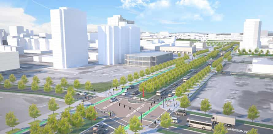 A rendering of the proposed 'community grid' option for redesigning the I-81 viaduct.