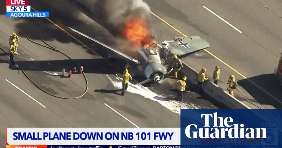 Mock German fighter plane crashes on California freeway   US