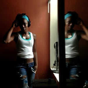 Mz Blaque in the recording studio, a friend's bedroom, in North Philadelphia.