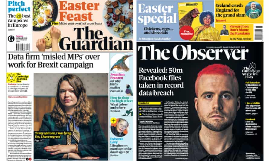 Front pages with Cambridge Analytica stories