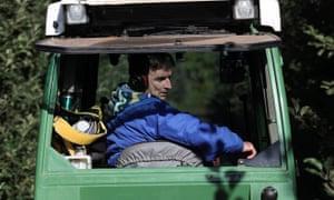 Jerzy Kwapniewski driving a tractor at Stocks Farm