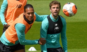 Virgil van Dijk and Jordan Henderson in training