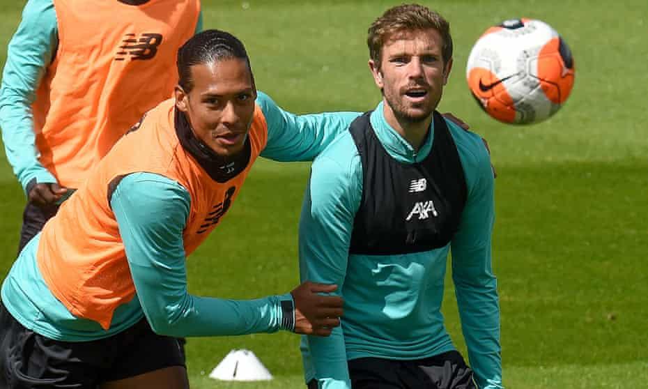 Virgil van Dijk and Jordan Henderson in training